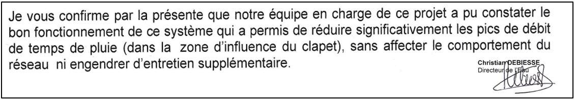 Validation expérimentation vanne F-Reg Métro Grand-Lyon